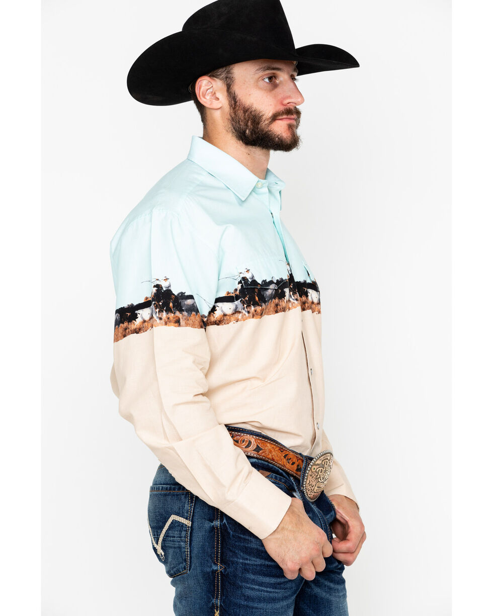 Panhandle Men's Scenic Border Print Long Sleeve Western Shirt , Aqua, hi-res