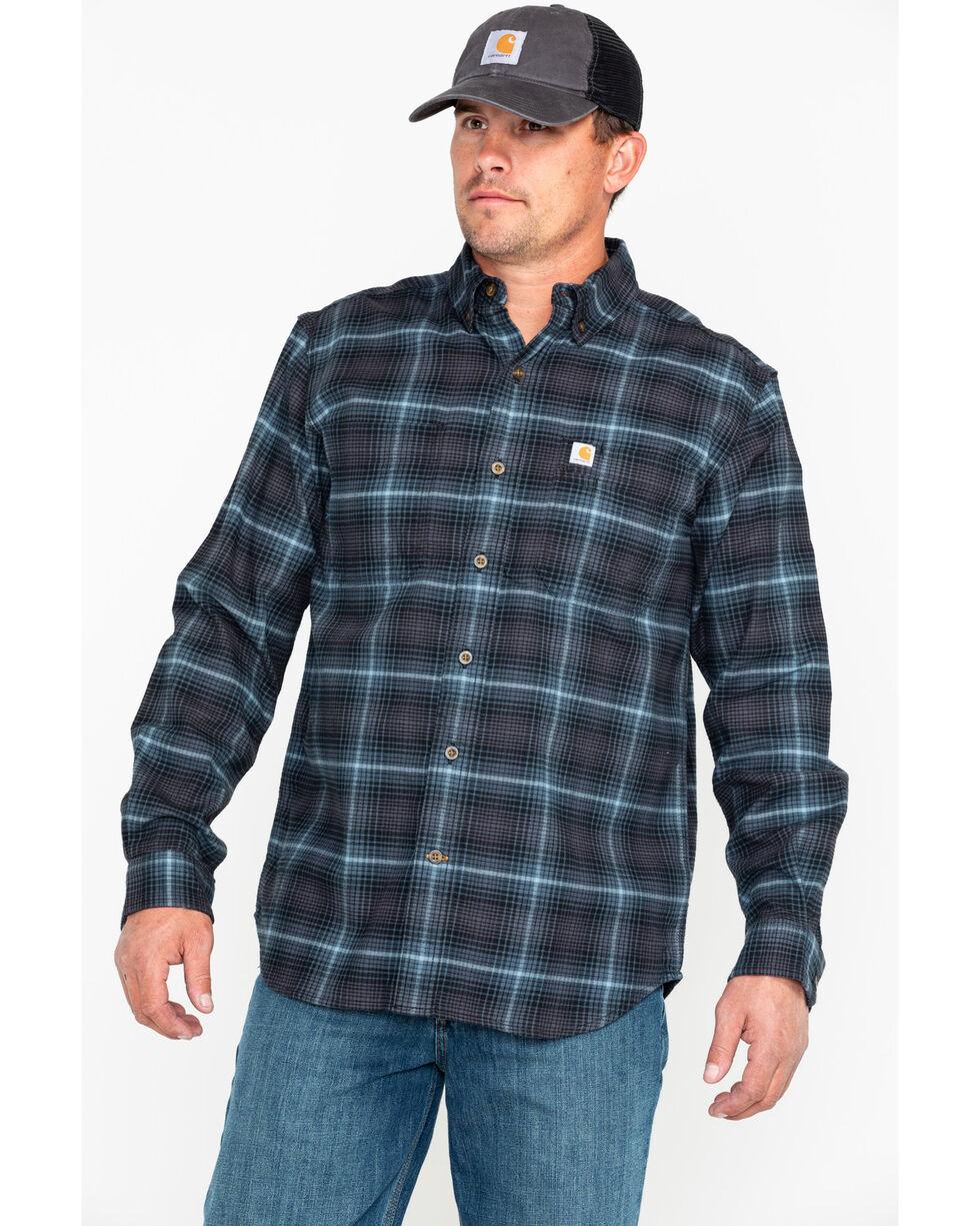 Carhartt Men's Plaid Rugged Flex Hamilton Button Long Sleeve Western Work Shirt , Dark Blue, hi-res
