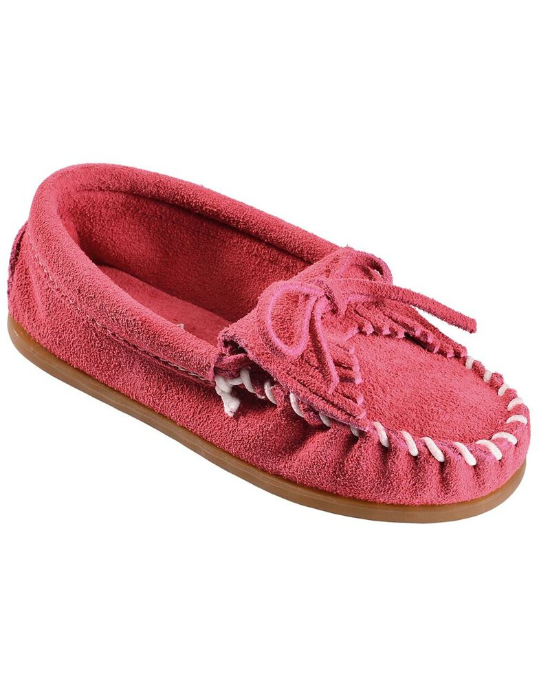 Kids' Minnetonka Kilty Suede Moccasins, Hot Pink, hi-res
