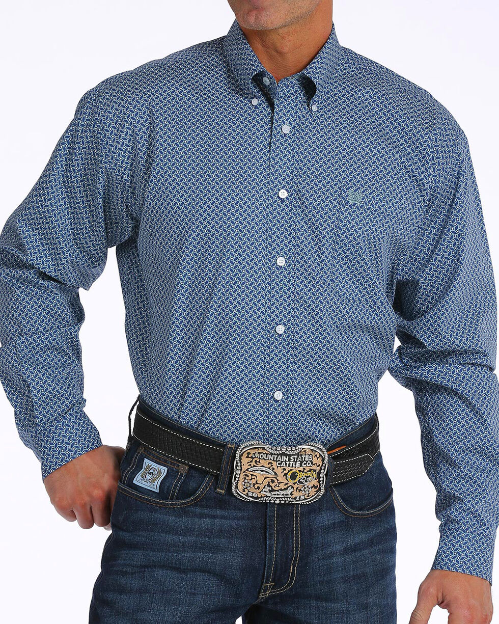 Cinch Men's Navy Print Long Sleeve Button Down Shirt, Navy, hi-res