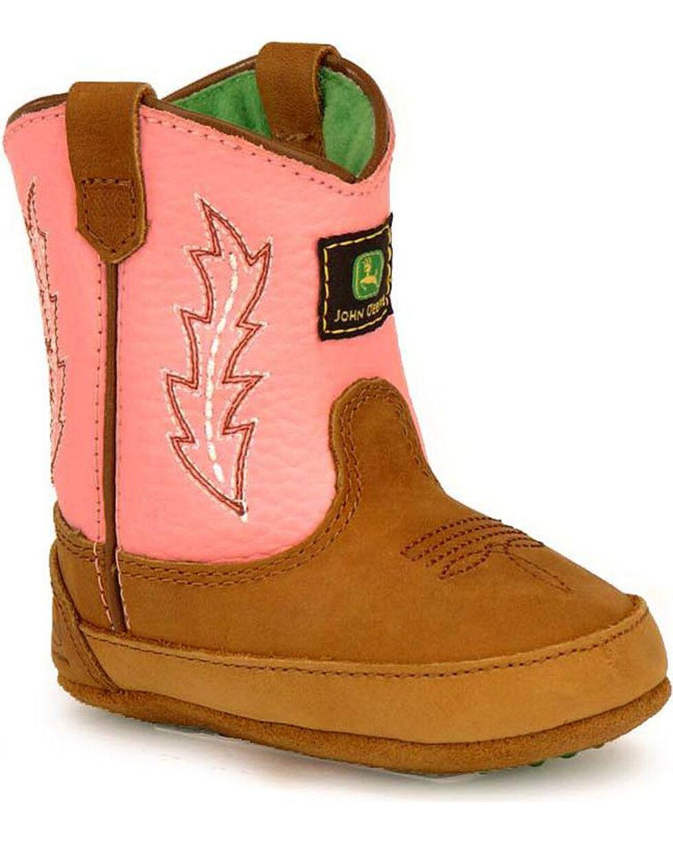 John Deere Infant Boy's Johnny Popper Western Crib Boots, Pink, hi-res