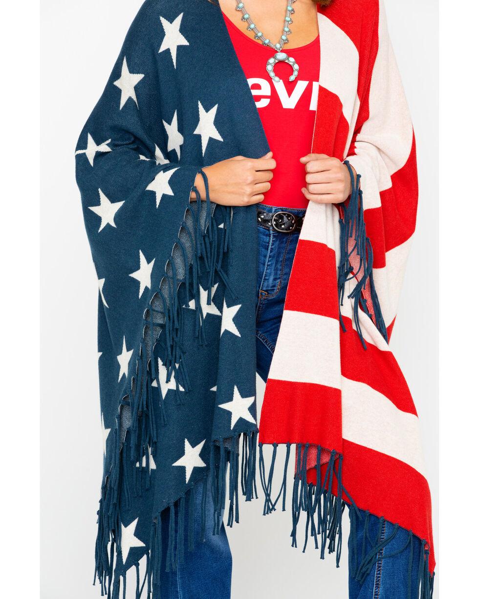 Tasha Polizzi Women's American Flag Heritage Shawl Fringe Kimono , Multi, hi-res