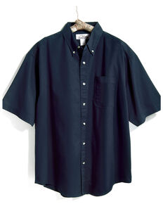 Tri-Mountain Men's Navy Solid Recruit Short Sleeve Work Shirt - Tall, Navy, hi-res