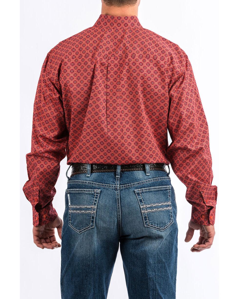 Cinch Men's Coral Floral Print Long Sleeve Western Shirt , Coral, hi-res