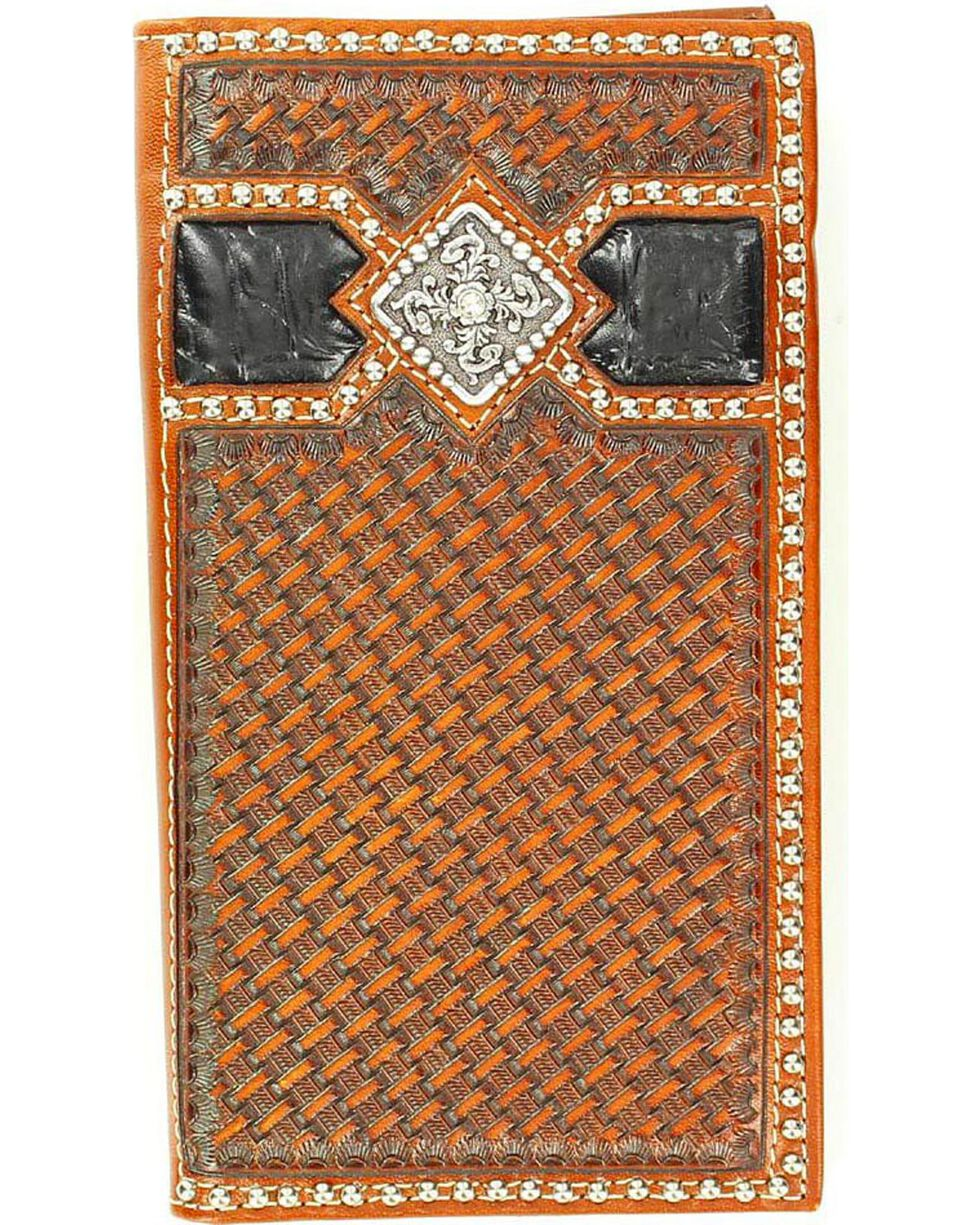 Ariat Men's Basket Weave Rodeo Wallet Checkbook Cover, Multi, hi-res