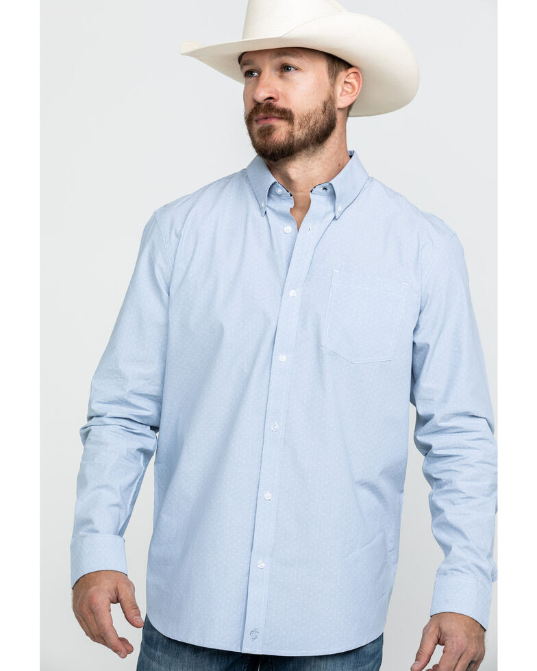 Cody James Core Men's Pinpoint Dobby Geo Print Long Sleeve Western Shirt , Blue, hi-res