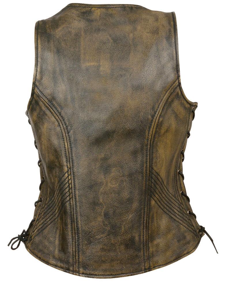 Milwaukee Leather Women's Open Neck Side Lace Zipper Front Vest - 3X, , hi-res