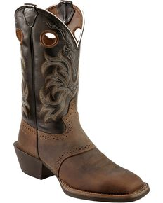 Justin Men's Stampede Punchy Western Boots, Tan Distressed, hi-res
