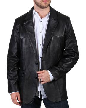 Cody James® Men's Lambskin Leather Blazer, Black, hi-res