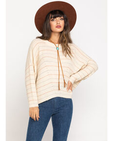 Rag Poets Women's Lurex Stripe Pullover Sweater , Ivory, hi-res