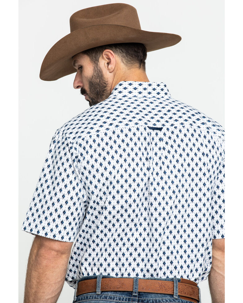 Tuf Cooper Men's White Stretch Poplin Print Short Sleeve Western Shirt , , hi-res