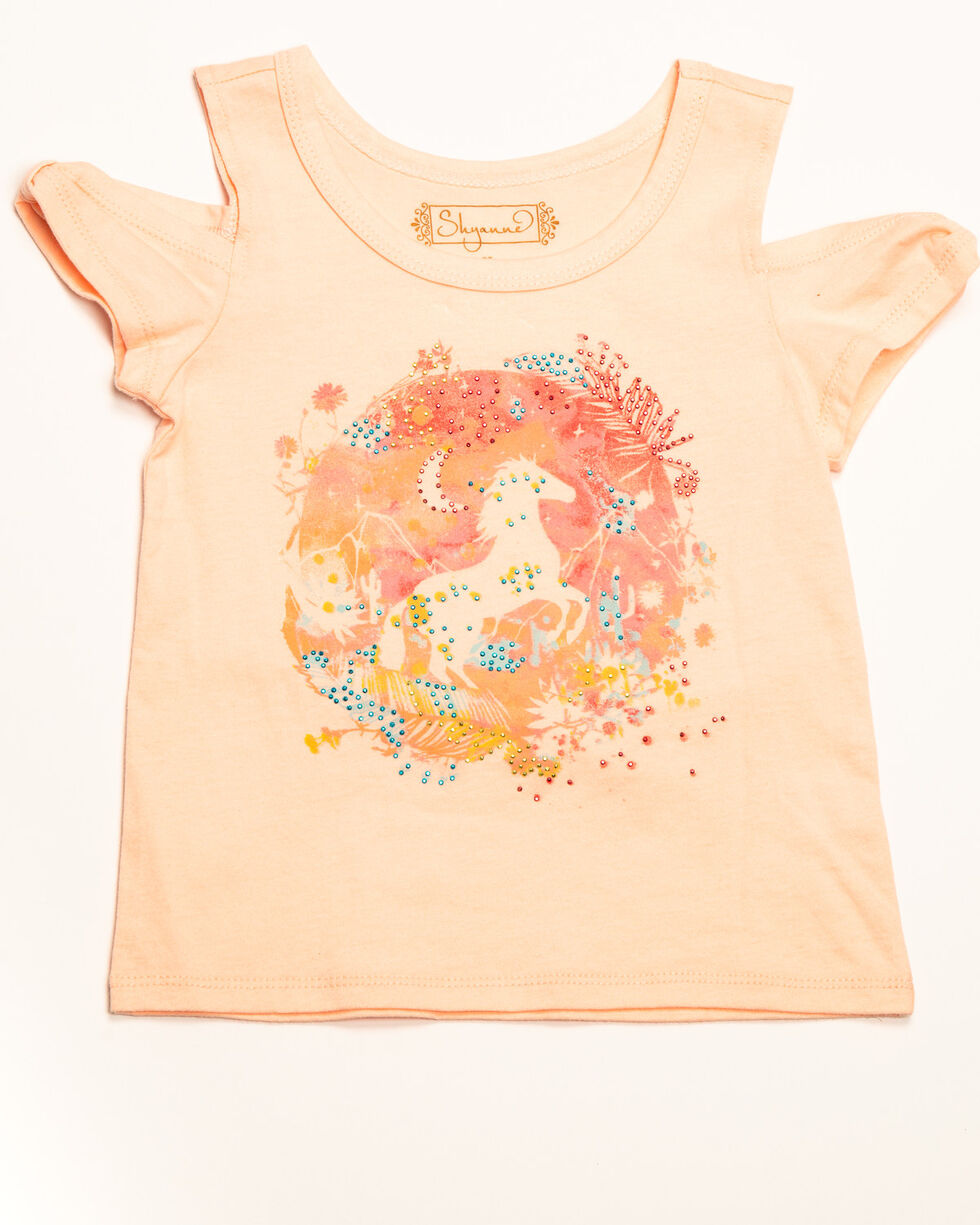 Shyanne Toddler Girls' Knit Horse Print Cold Shoulder Top, Pink, hi-res