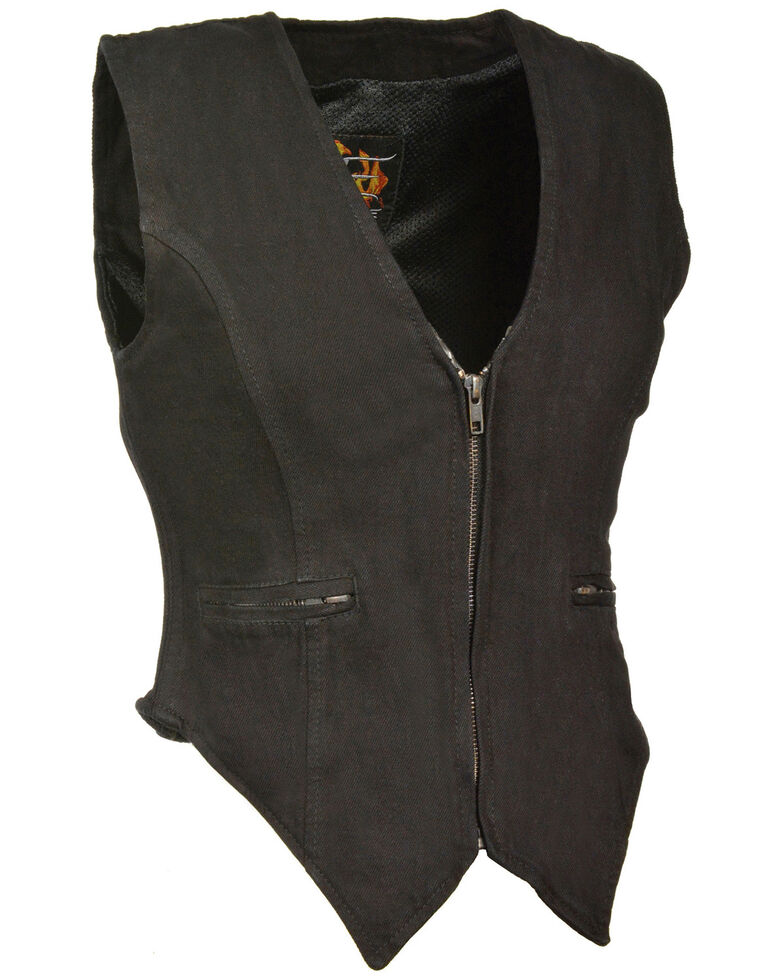 Milwaukee Leather Women's Side Stretch Zipper Front Denim Vest - 5X, Black, hi-res
