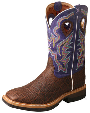 Twisted X Men's Lite Cowboy Elephant Print Western Work Boots - Wide Square Toe, Brown, hi-res