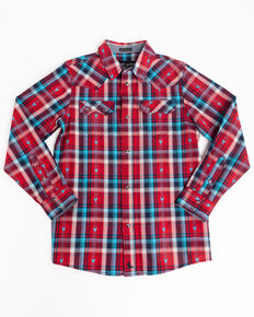 Cody James Boys' Bull Dobby Plaid Long Sleeve Western Shirt , Red, hi-res