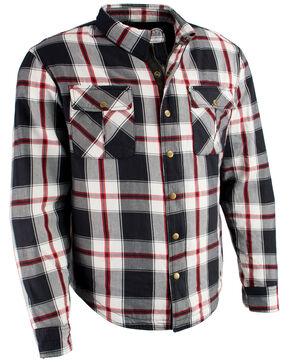 Milwaukee Performance Men's Aramid Reinforced Plaid Flannel Biker Shirt - Big & Tall, Black/red, hi-res