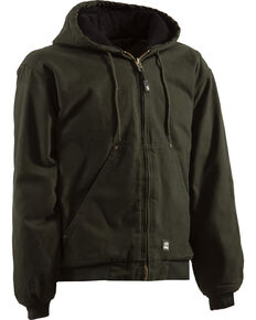 Berne Men's Original Washed Hooded Jacket , Olive, hi-res