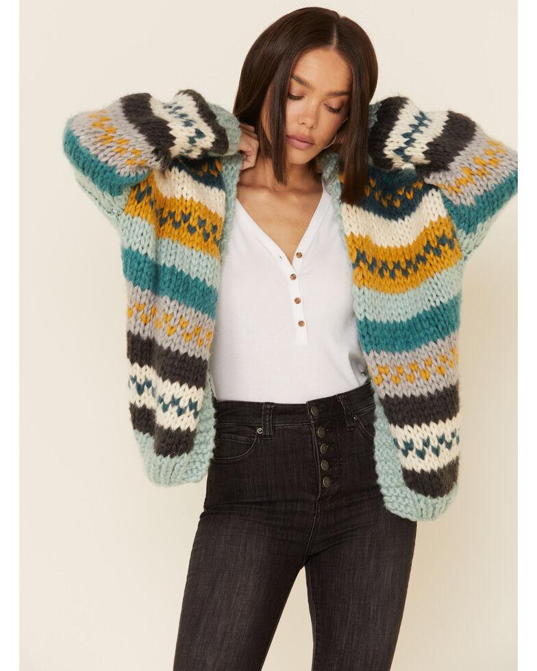 Wishlist Women's Teal Striped Sweater Knit Cardigan , Teal, hi-res