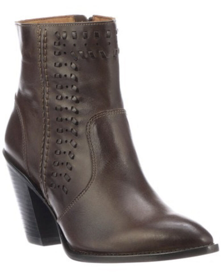Lucchese Women's Piper Fashion Booties - Medium Toe, Chocolate, hi-res