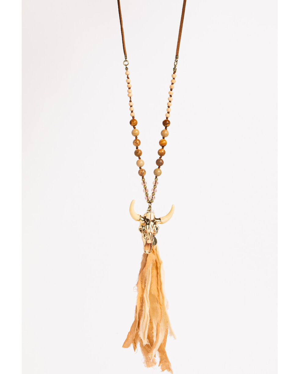 Shyanne Women's Adilene Longhorn Tassel Necklace, Gold, hi-res