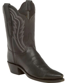 Lucchese Women's Handmade Hattie Black Goat Leather Short Western Boots - Snip Toe, Black, hi-res