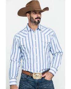 Panhandle Men's White Dobby Stripe Long Sleeve Western Shirt , White, hi-res