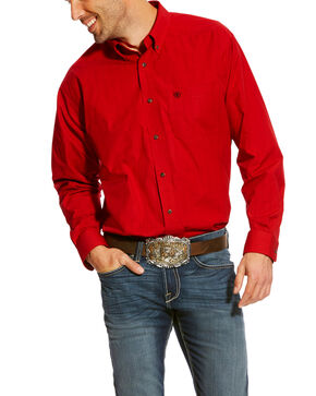 Ariat Men's Carpenter Plaid Western Shirt, Ruby, hi-res