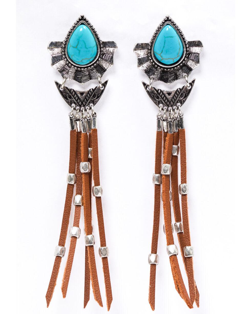 Shyanne Women's Emma Rae Brown Suede Fringe Turquoise Earrings , Silver, hi-res