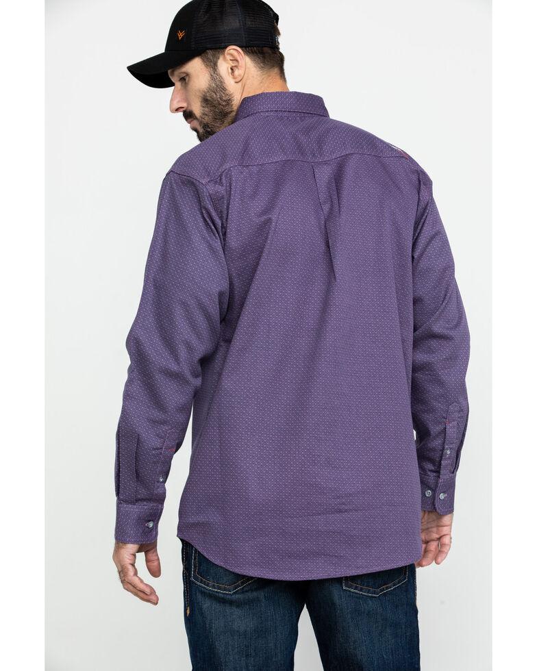 Ariat Men's FR Octane Geo Print Long Sleeve Work Shirt - Tall , Silver, hi-res