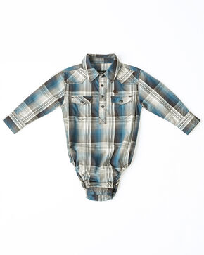 Cody James Infant Boys' Madras Large Plaid Long Sleeve Western Onesie , Blue, hi-res