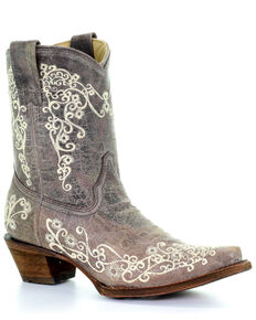 Corral Women's Embroidered Western Booties, Brown, hi-res