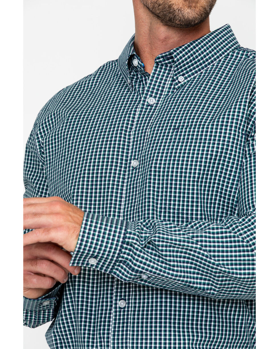 Cody James Men's Small Checkered Pattern Long Sleeve Western Shirt, Navy, hi-res