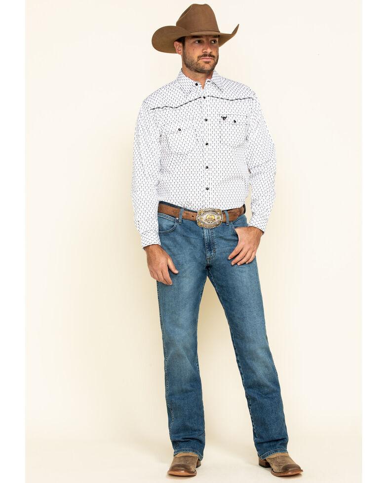 Cowboy Hardware Men's White Arrow Geo Print Long Sleeve Western Shirt , White, hi-res
