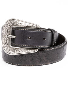 Cody James Boys' Black Ostrich Print Leather Western Belt , Black, hi-res