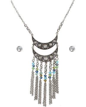 Shyanne® Women's Rhinestone and Beaded Jewelry Set, Silver, hi-res