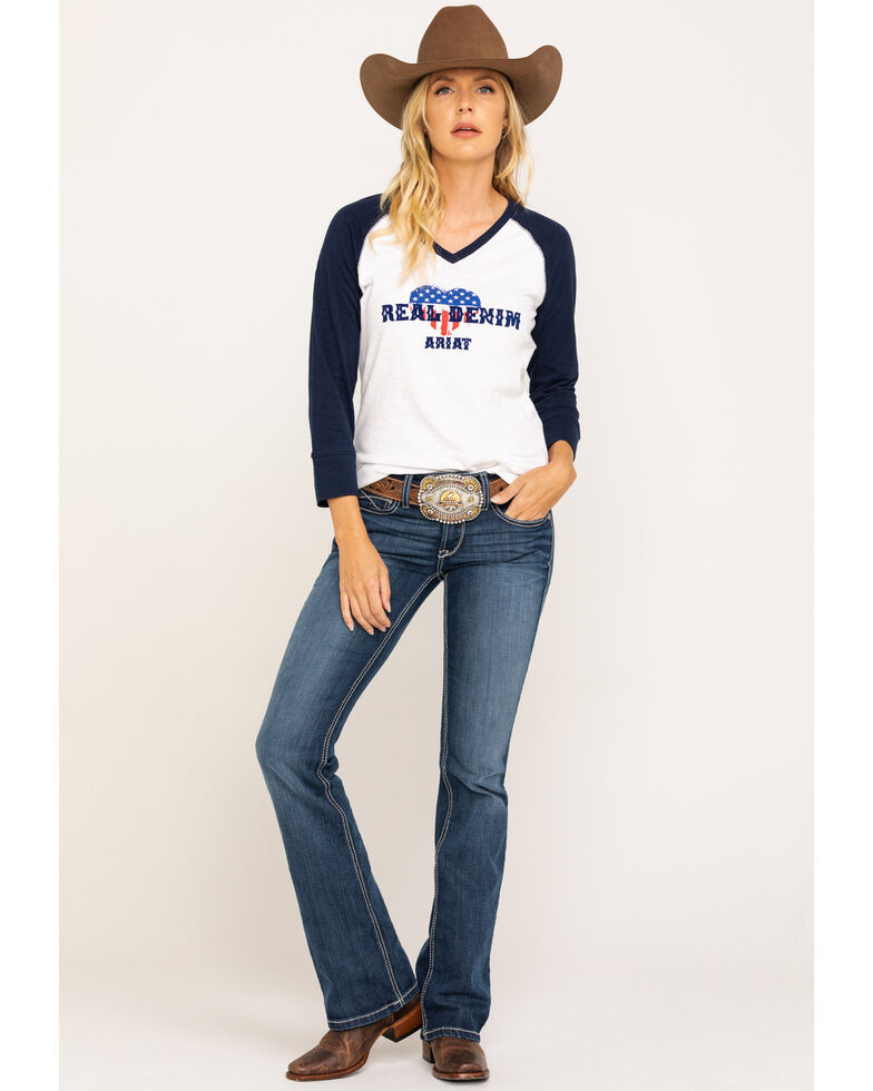 Ariat Women's American Love Tee , White, hi-res