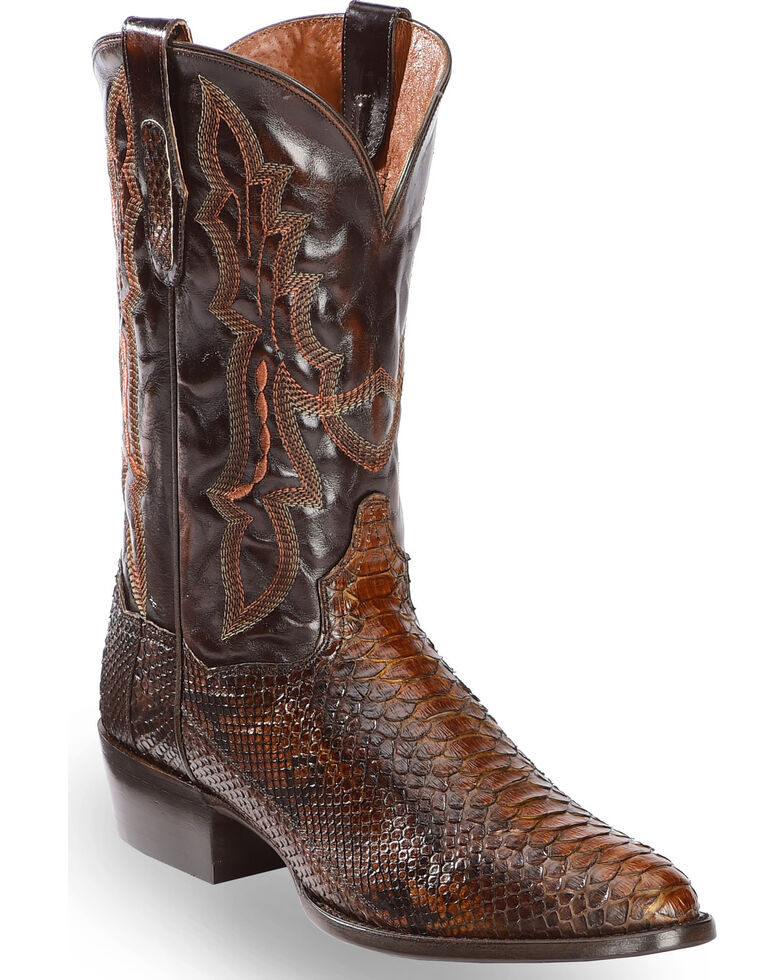 Dan Post Men's Chocolate Back Cut Python Cowboy Boots - Medium Toe, Chocolate, hi-res