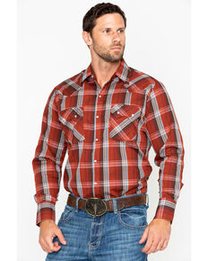 Ely Cattleman Men's Textured Plaid Long Sleeve Western Shirt  , Rust Copper, hi-res