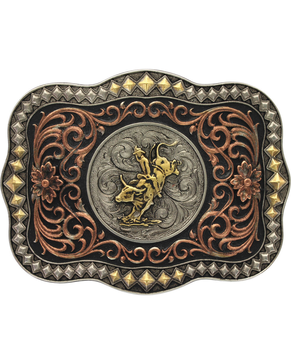 Montana Silversmiths Tri-Color Bull Rider Belt Buckle, Multi, hi-res