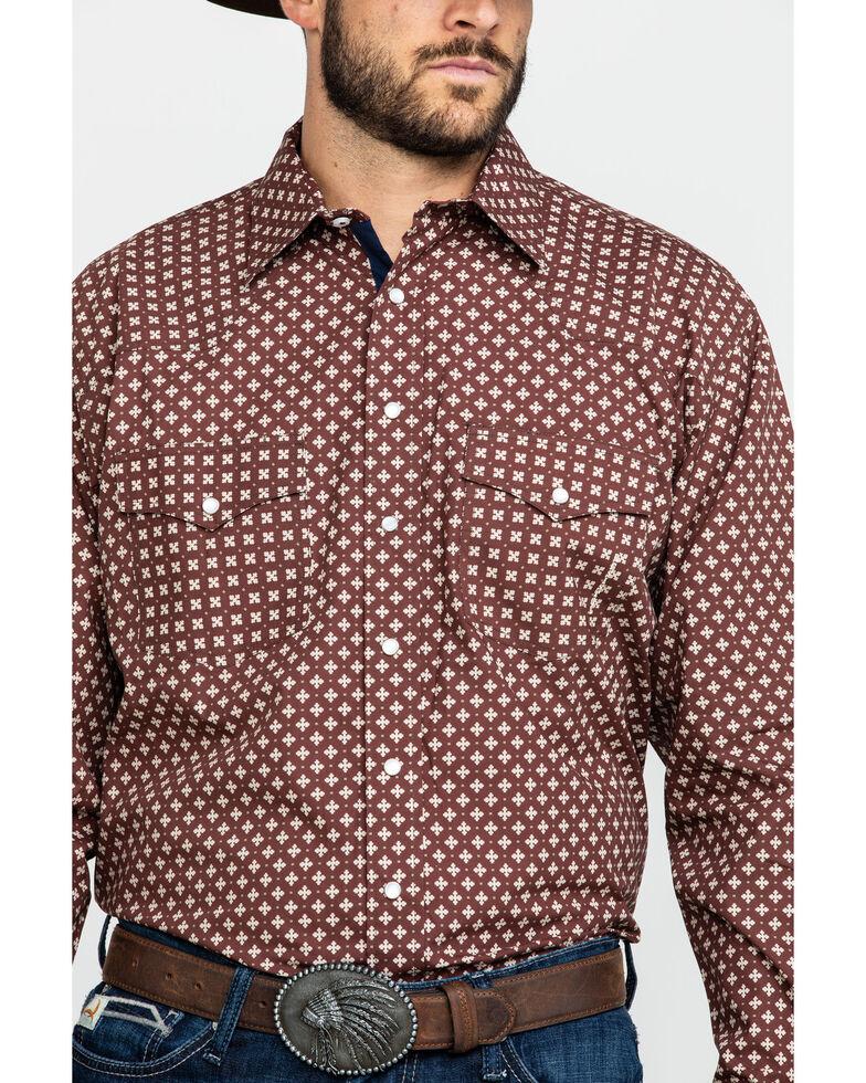 Resistol Men's Lackey Geo Print Long Sleeve Western Shirt , Red, hi-res