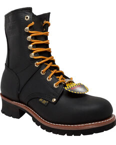 "Ad Tec Men's Logger 9"" Work Boots, Black, hi-res"