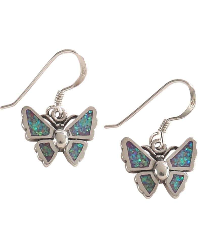 Silver Legends Women's Lavender Opal Butterfly Dangle Earrings, Lavender, hi-res