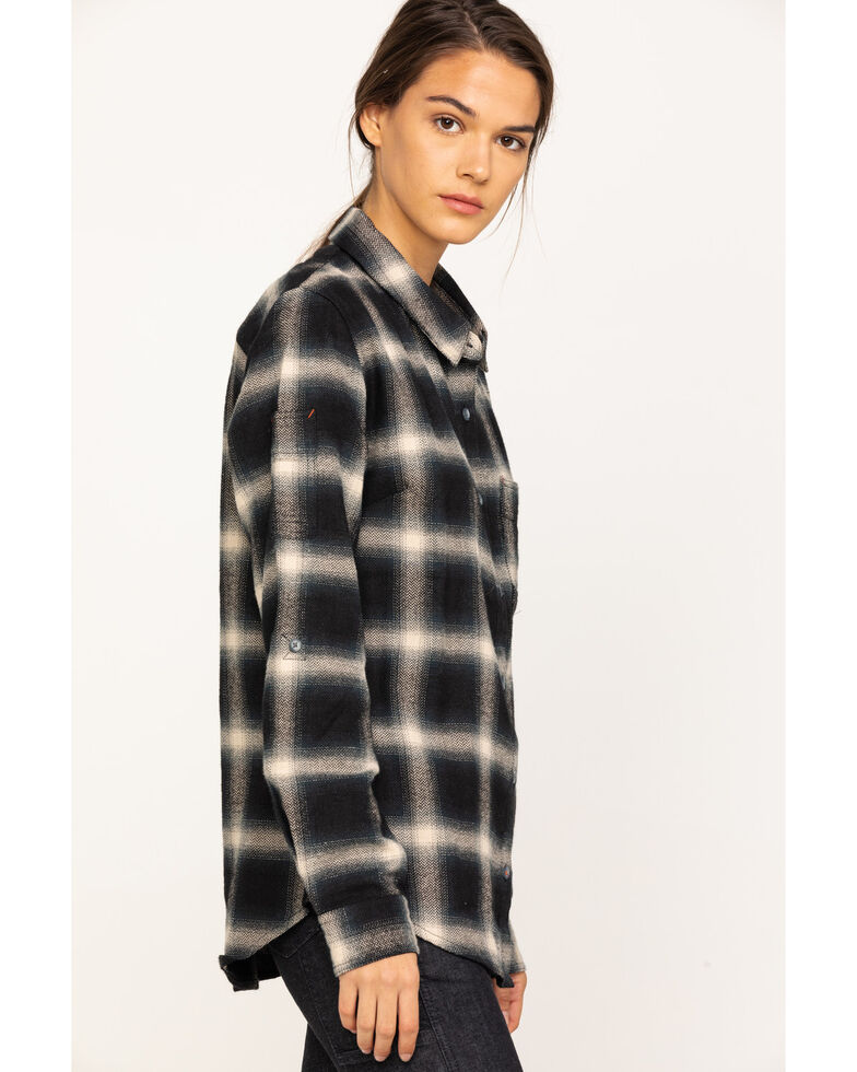 Dovetail Workwear Women's Plaid Givens Long Sleeve Work Shirt, Black, hi-res