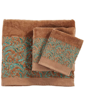 HiEnd Accents Wyatt Embroidered Towel Set - 3 Pieces , Lt Brown, hi-res