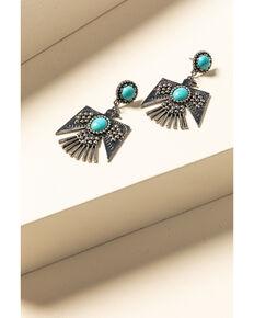 Idyllwind Women's Turquoise Beaded Thunderbird Earrings, Silver, hi-res