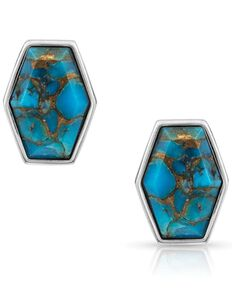 Montana Silversmiths Women's Sterling Lane Fearless Turquoise Post Earrings, Turquoise, hi-res