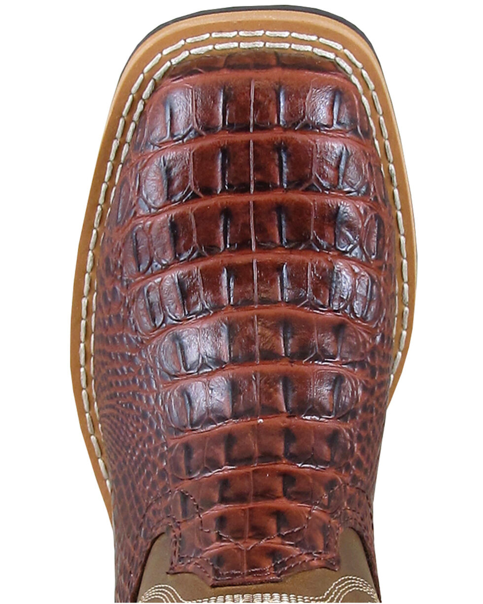 Smoky Mountain Youth Boys' Cognac Faux Gator Western Boots - Square Toe, Cognac, hi-res