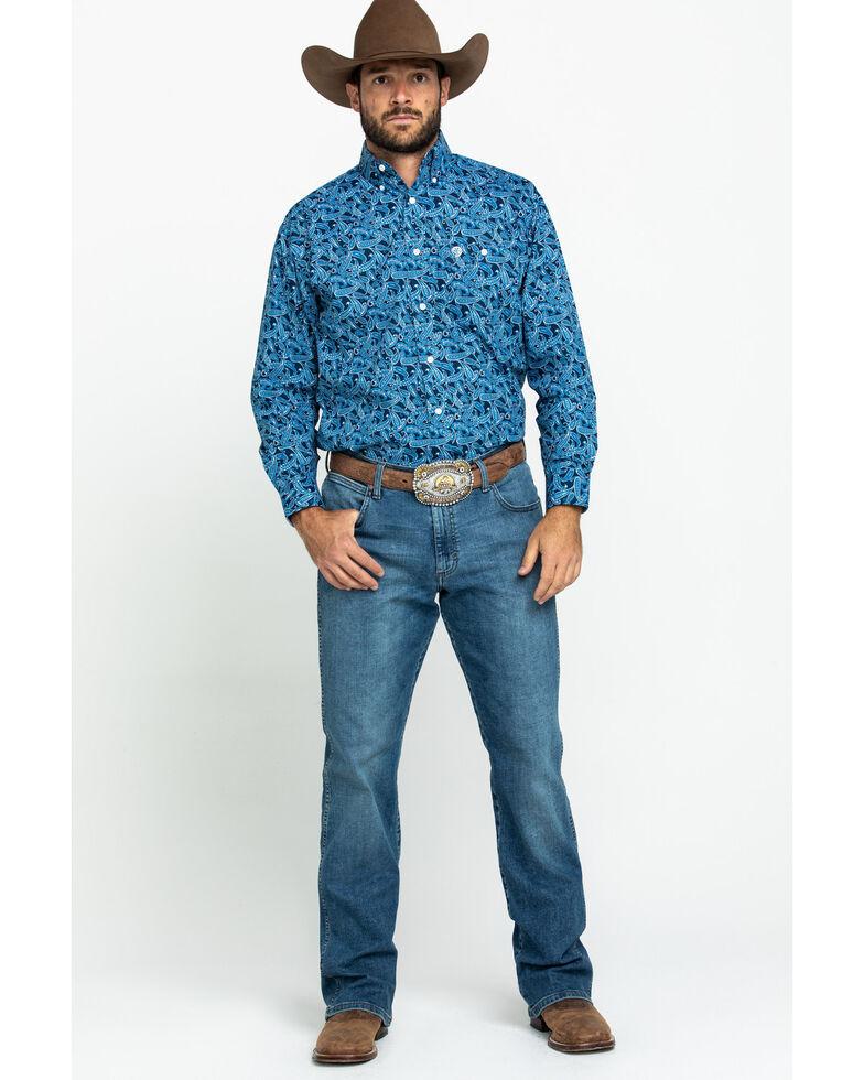 George Strait By Wrangler Men's Blue Paisley Print Poplin Long Sleeve Western Shirt - Tall , Blue, hi-res