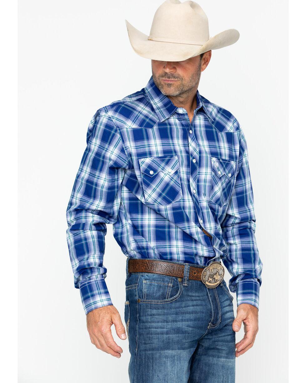 Wrangler Men's Retro Plaid Long Sleeve Western Shirt, Blue, hi-res