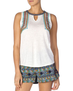Miss Me Women's White Slub Knit Embroidered Tank Top, Off White, hi-res